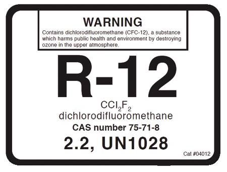 R-12 Refrigerant ID Labels 10 Pack