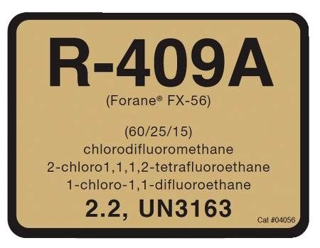 R-409 Refrigerant ID Labels 10 Pack