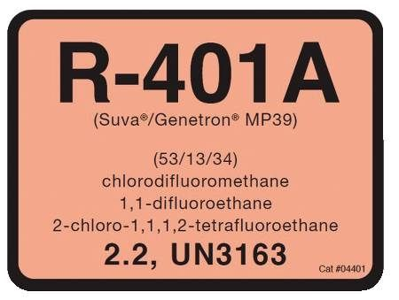 R-401A Refrigerant ID Labels 10 Pack