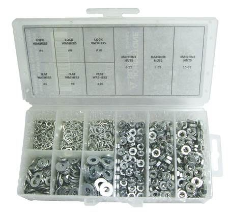 Nut, Flatwasher and Lockwasher Kit Contains 900 Pieces