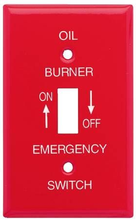 Red Gas And Oil Burner Emergency Switch Plates