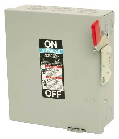Indoor General Duty Safety Switch Three-Phase, 240VAC, Non-Fused, 3-Pole, 3-Wire