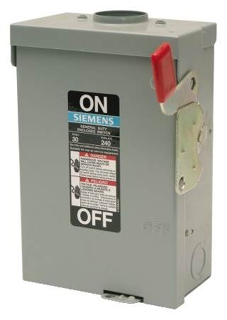 Outdoor General Duty Safety Switch Three-Phase, 240VAC, Fused, 3-Pole, 4-Wire, Solid Neutral