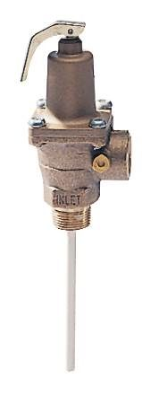 3/4 M x 3/4 F IN Bronze Automatic Reseating Temperature and Pressure Relief Valve 5 IN Thermostat 150 PSI 210 F 1437600 BTU/HR