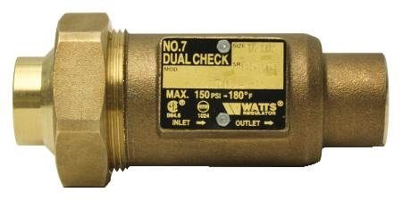 1/2 x 1/2 IN Lead Free Brass Residential Dual Check Valve