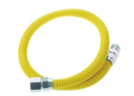 Yellow Coated Stainless Steel Gas Appliance Connector