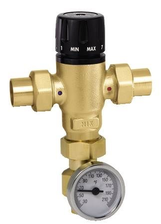 "MixCal 3-Way Thermostatic Mixing Valve 3/4"" SWT with Temperature Gauge"