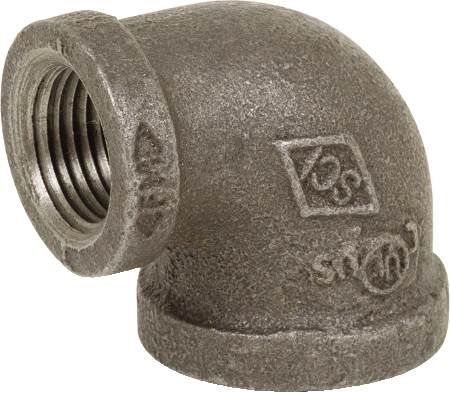 "1-1/2"" X 1-1/4"" Black Iron Reducing Elbow"
