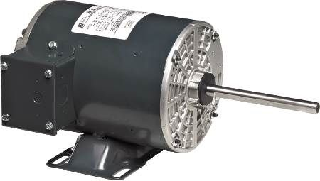 Three-Phase Condenser Fan Motor 56 Frame, shaft up and rigid base mounting