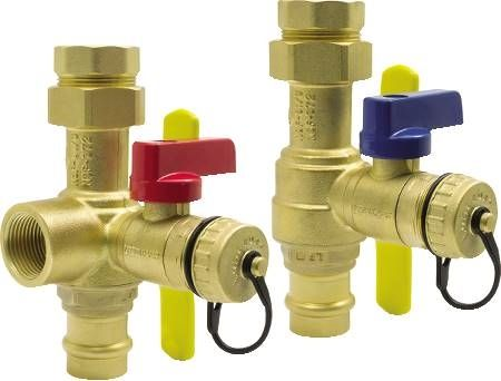The Isolator E-X-P E2 Wall Hung & Combi Boiler Service Valve Kits Hot & Cold Set of Full Port Forged Brass Ball Valves